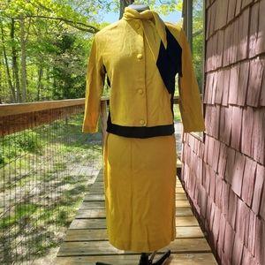 Vintage 1960s Mustard Tie Neck Skirt Suit Set